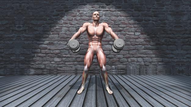 3d męska postać w dumbbell ramienia wzruszeń ramionach pozuje w grunge wnętrzu Darmowe Zdjęcia