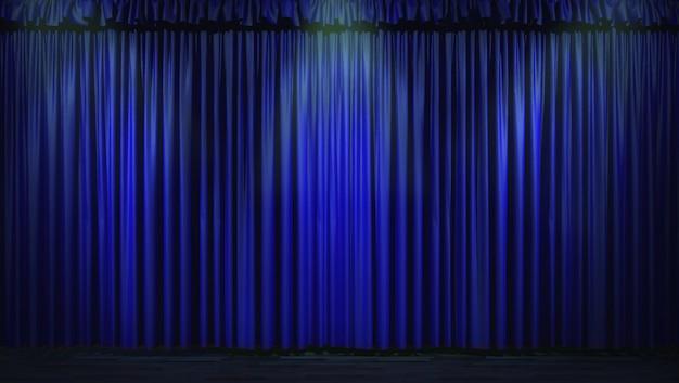3d Niebieska Kurtyna Oświetlona Punktowymi światłami Premium Zdjęcia