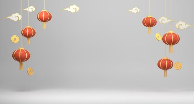 3d Odpłaca Się Chińskich Lampiony Na Białym Tle Premium Zdjęcia