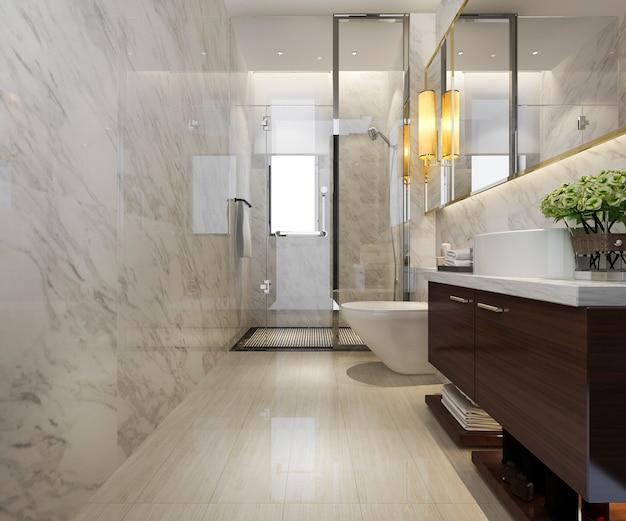 3d Odpłaca Się Nowożytną łazienkę Z Luksusowym Dachówkowym Wystrojem Premium Zdjęcia