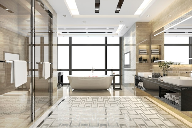 3d Odpłaca Się Nowożytną Loft łazienkę Z Luksusowym Dachówkowym Wystrojem Premium Zdjęcia