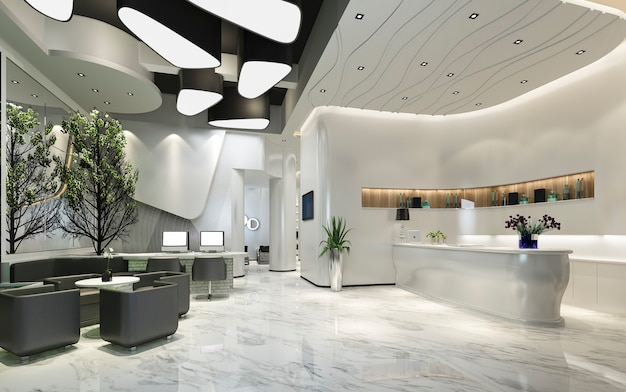 3d Odpłaca Się Nowożytnego Luksusowego Hotelu Przyjęcie I Hol Premium Zdjęcia