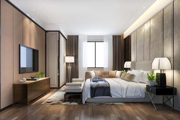 3d odpłaca się pięknego luksusowego sypialnia apartament w hotelu z tv i pracującym stołem Premium Zdjęcia