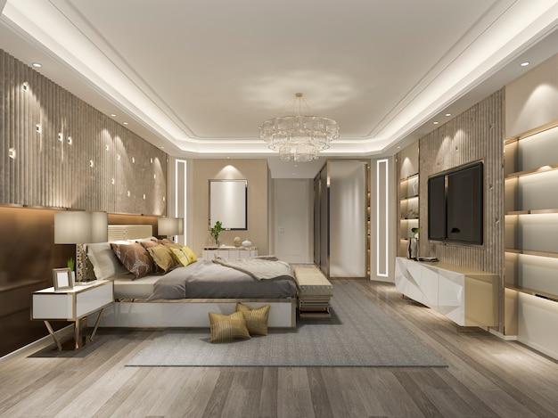 3d Odpłaca Się Pięknego Luksusowego Sypialnia Apartament W Hotelu Z Tv Premium Zdjęcia
