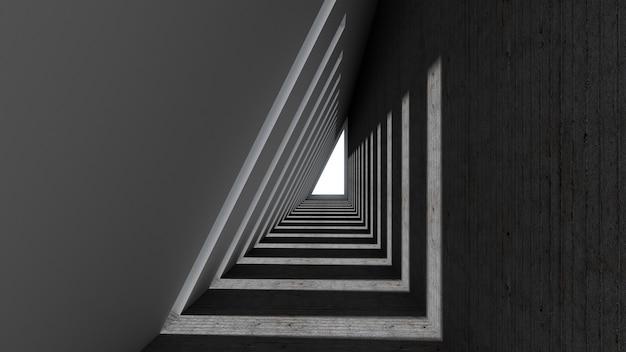 3d Odpłacają Się Abstrakcjonistyczny Trójboka Kształt W Tunelowym Tle Premium Zdjęcia