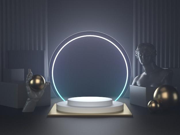 3d Odpłacają Się Biały Podium Na Futurystycznych świateł Nd Klasycznej Rzeźbie Premium Zdjęcia