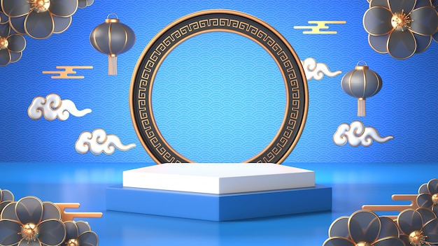3d Odpłacają Się Błękitny Geometryczny Podium I Chińczyka Dekoracja Premium Zdjęcia