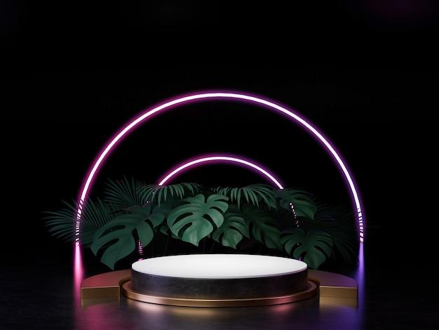 3d Odpłacają Się Czarnego Bielu I Złota Cokołu Podium Na ścianie Z Neonowego Sceny światła Abstrakcjonistycznym Minimalnym Pojęciem Dekorują Z Rośliną, Pustej Przestrzeni Luksusowego Minimalnego Czystego Projekta 3d Produktu Teraźniejszość. Premium Zdjęcia