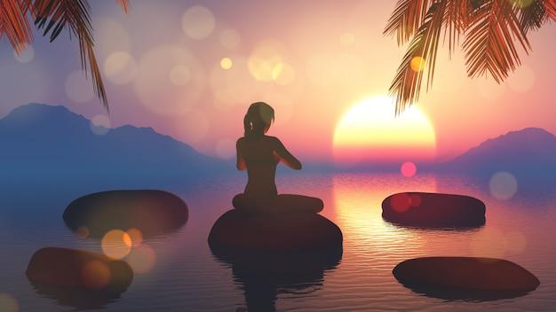3d odpłacają się kobieta w joga pozie przeciw zmierzchu niebu Darmowe Zdjęcia