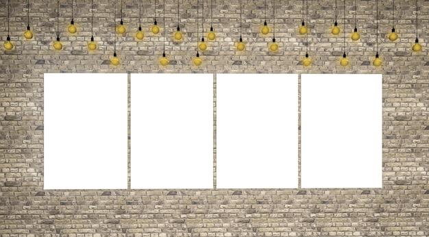 3d Odpłacają Się Obrazek Ramy Puste Miejsce Na ściana Z Cegieł Premium Zdjęcia