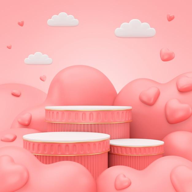 3d Odpłacają Się Podium Dla Walentynka Dnia. Scena Abstrakcyjna Produktu Wyświetlanego. Premium Zdjęcia