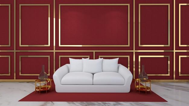 3d Odpłacają Się żywy Pokój I Mockup W Czerwonym Tle Premium Zdjęcia