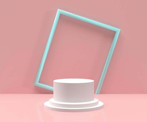 3d odpłacający się - biały podium z błękit ramą i różowym tłem dla produktów pokazu Premium Zdjęcia