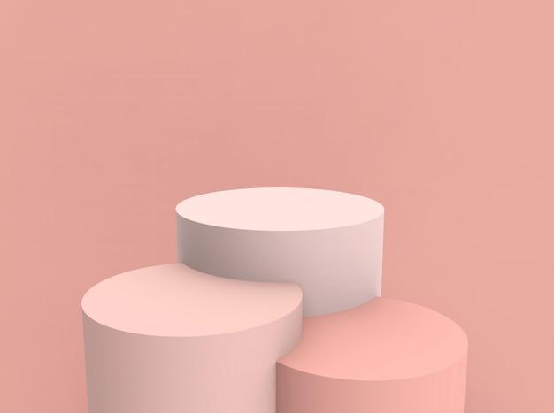 3d Odpłacający Się - Brzoskwini Butli Podium Produktu Pokazu Stojaka Różowy Tło Premium Zdjęcia