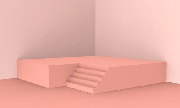 3d Odpłacający Się - Brzoskwini Menchii Koloru Podium Produktu Pokazu Tło Premium Zdjęcia