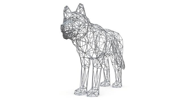 3d odpłacający się siatka pies na odosobnionym białym tle Premium Zdjęcia