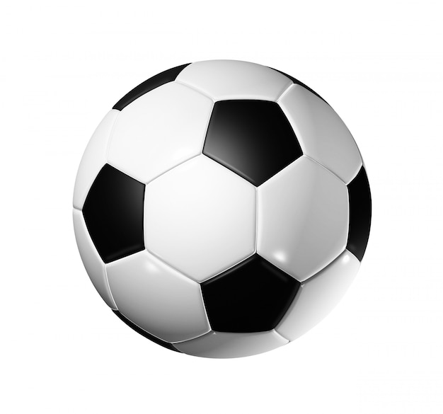 3d Piłka Nożna Na Białym Tle Ze ścieżką Przycinającą Premium Zdjęcia