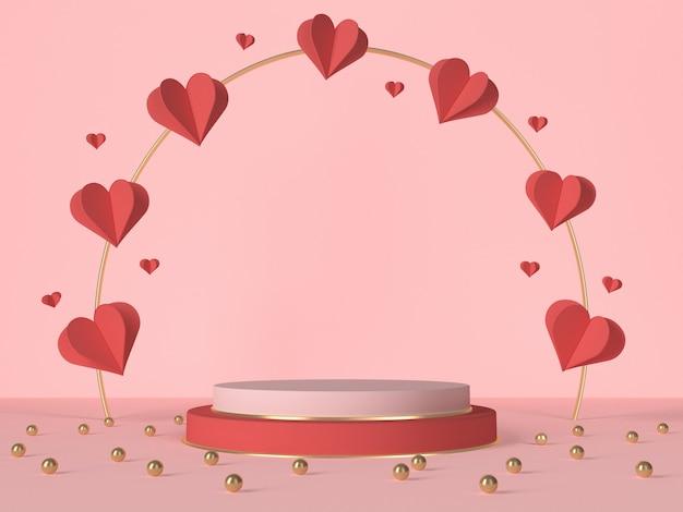 3d Podium Z Czerwonymi Sercami I Dekoracją. Karta Walentynkowa. Renderowanie 3d Premium Zdjęcia