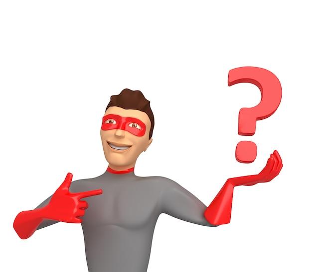 3d Postać W Kostiumu Superbohatera Na Białym Tle, Trzyma Znaki Zapytania Na Jego Ręce. 3d Ilustracji Premium Zdjęcia