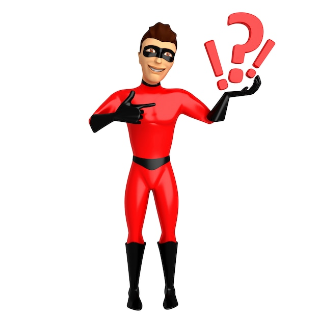 3d Postać W Kostiumu Superbohatera, Trzymając W Ręku Znaki Zapytania. 3d Ilustracji Premium Zdjęcia