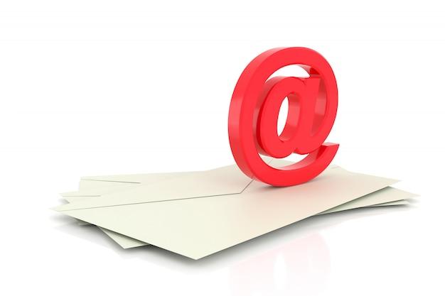 3d Przy Znaku. Symbol E-maila. Renderowanie 3d. Premium Zdjęcia