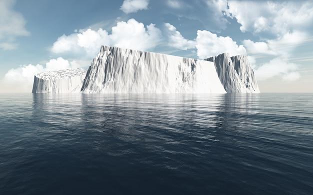 3d Render Gór Lodowych W Oceanie Premium Zdjęcia