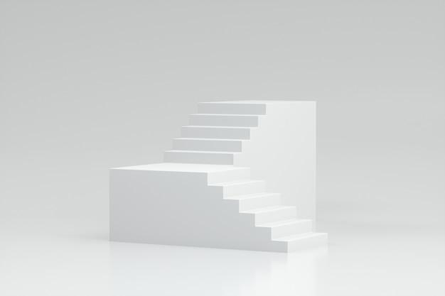 3d Render Klatki Schodowej Na Białym Tle Premium Zdjęcia