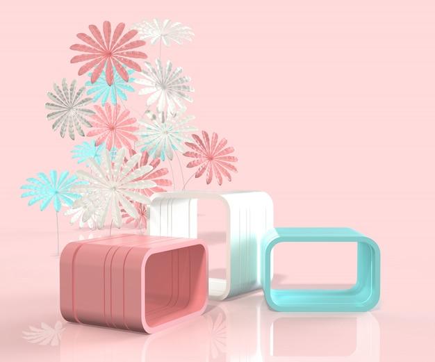 3d render minimalistycznym stylu podium z kwiatem Premium Zdjęcia
