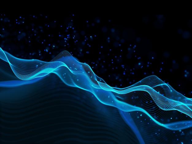 3d Render Na Tle Nowoczesnej Technologii Z Płynnymi Liniami I Pływającymi Cząstkami Darmowe Zdjęcia