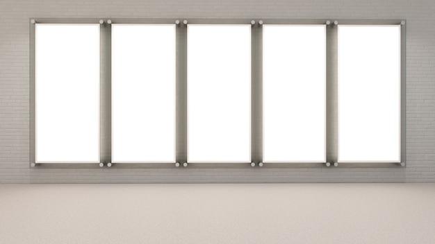 3d Render Puste Ramki Na Zdjęcia Na ścianie Z Cegły Premium Zdjęcia