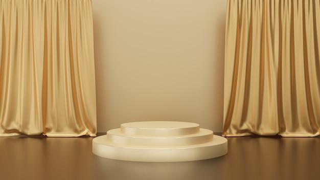 3d Render Złotych Kroków Na Cokole Z Kurtyną Na Złotym Tle, Scena Złotego Koła, Abstrakcyjna Minimalna Koncepcja, Prosty Czysty Design, Luksusowy Minimalistyczny Makieta Premium Zdjęcia