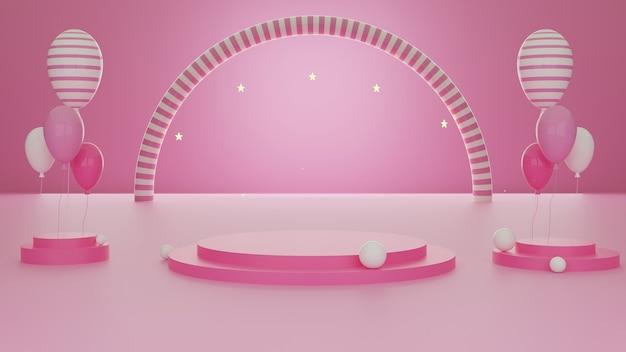 3d Rendering Abstrakcyjny Kształt Geometryczny Różowy Szablon Kolor Minimalny Nowoczesny Styl ściana Tła, Na Stoisku Podium Stół Wystawowy Makieta Kompozycji Z Balonami. Premium Zdjęcia