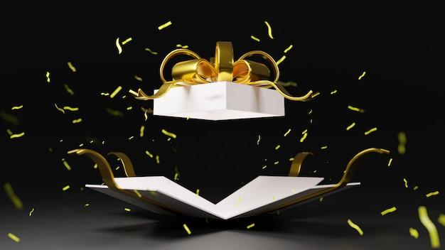 3d Rendering Bomba Białe Pudełko Ze Złotą Wstążką Premium Zdjęcia