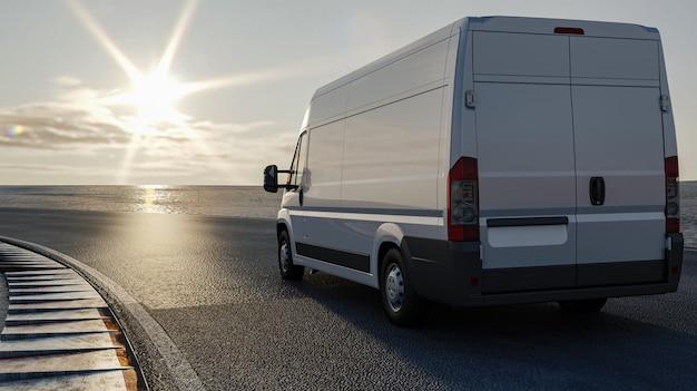 3d Rendering, Ciężarówka Na Drodze Podróżuje Słońce, ładunku Transportu Pojęcie Premium Zdjęcia