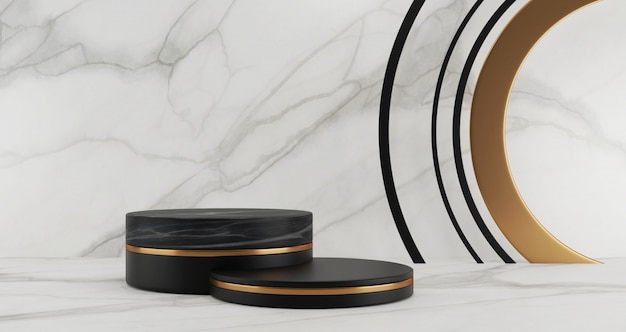 3d Rendering Czerń Marmuru Piedestału Kroki Odizolowywający Na Bielu Marmuru Tle, Abstrakcjonistyczny Minimalny Pojęcie, Pusta Przestrzeń Premium Zdjęcia