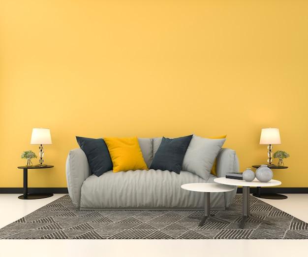 3d rendering makiety żółtej ścianie w salonie z sofą Premium Zdjęcia