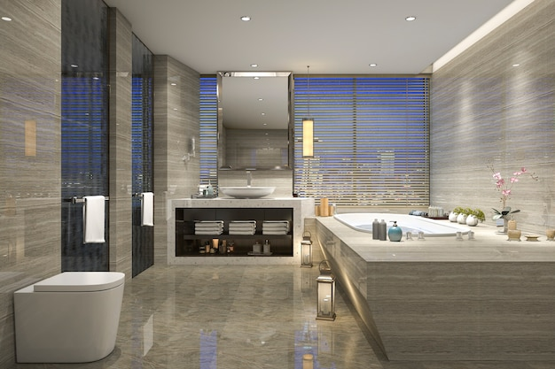 3d Rendering Nocny Widok łazienka Z Nowożytnym Luksusowym Projektem Premium Zdjęcia