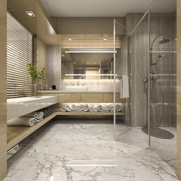 3d rendering nowoczesna łazienka z luksusowym wystrojem płytek Premium Zdjęcia