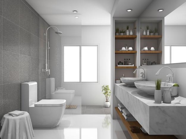 3d rendering nowoczesny design i marmurowe płytki wc i łazienka Premium Zdjęcia