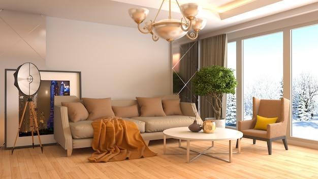 3d Rendering Nowożytny Pokój Dzienny Premium Zdjęcia
