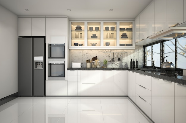 3d rendering piękna nowoczesna kuchnia z marmurowym wystrojem Premium Zdjęcia