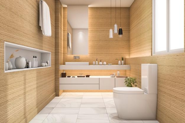 3d rendering przestronna i piękna toaleta z białym drewnem Premium Zdjęcia