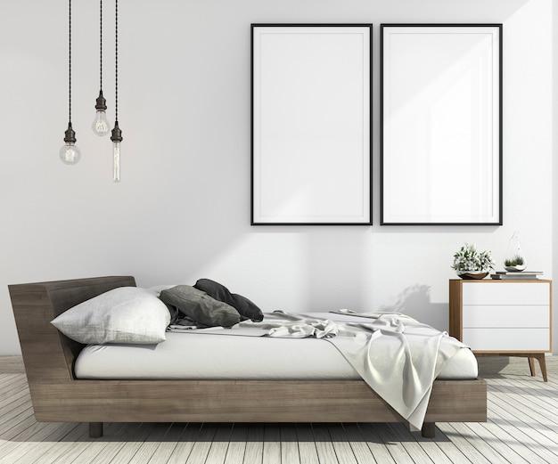 3d rendering rocznika minimalny makieta w stylu skandynawskim Premium Zdjęcia