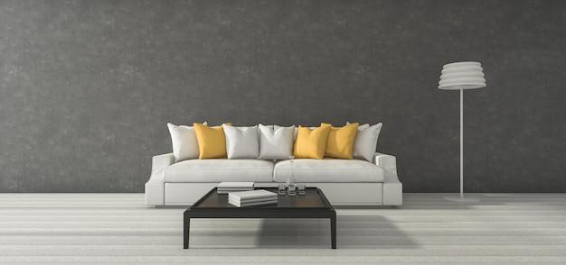 3d rendering szeroki minimalny loft szary pokój z żółtą kanapą i wystrojem Premium Zdjęcia