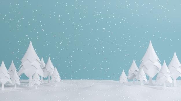 3d Rendering, Wesoło Boże Narodzenia I Szczęśliwy Nowego Roku Pojęcie, Niska Poli- Sosna Z śnieżnym Scena Projektem, 3d Ilustracja Premium Zdjęcia