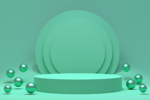 3d Rendering, Zielony Podium Minimalny Abstrakcjonistyczny Tło Dla Kosmetycznej Prezentaci Produktu, Abstrakcjonistyczny Geometryczny Kształt Premium Zdjęcia