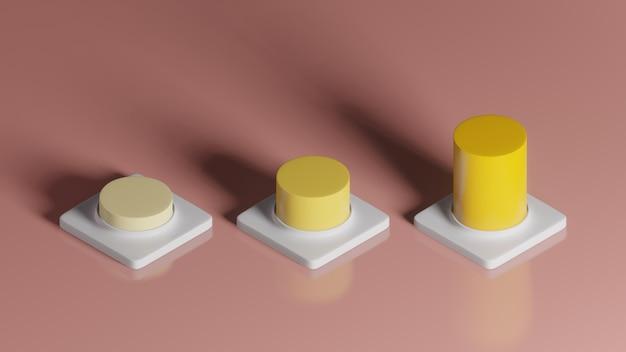 3d Rendering żółty Wzrastający Wykres Na Białego Kwadrata Piedestale Na Różowym Tle, Abstrakcjonistyczny Minimalny Pojęcie, Luksusowy Minimalista Premium Zdjęcia