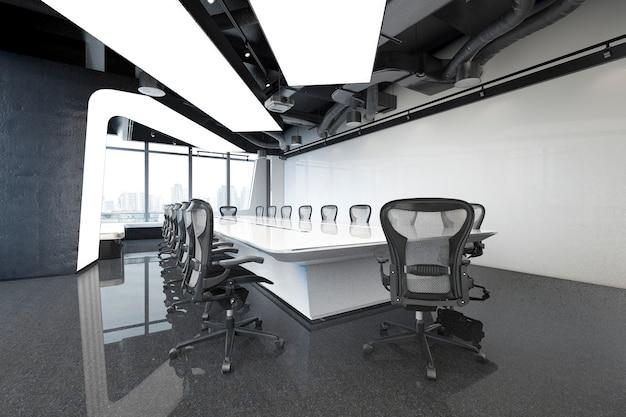 3d renderingu biznesowy pokój konferencyjny na wysokim wzrosta budynku biurowym Premium Zdjęcia