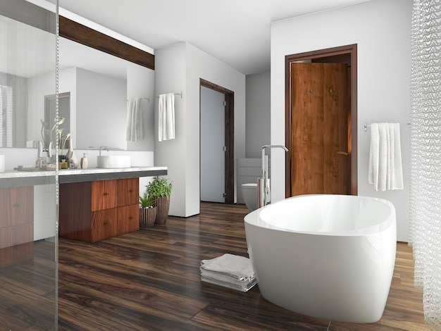 3d renderingu drewna i płytki projekta łazienka blisko okno zasłona Premium Zdjęcia