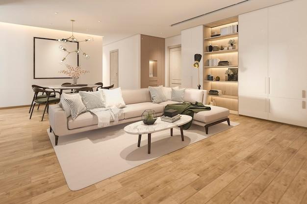 3d renderingu drewniany klasyczny salon z marmurową płytką i półka na książki Premium Zdjęcia